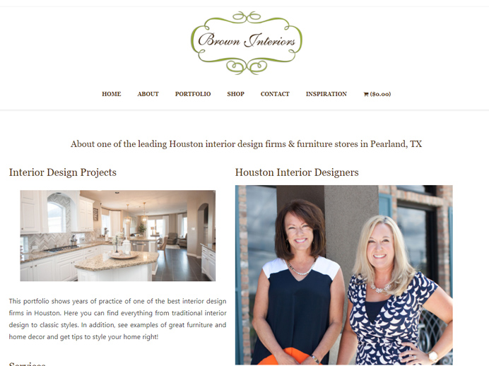 brown interiors ecommerce website design pearland