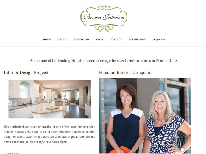 brown interiors ecommerce website design